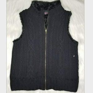 New LuLu Women Fax Fur Sweater Vest